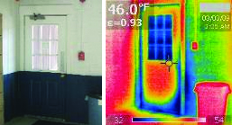 INFILTRATION (AIR LEAKS): Cold air can infiltrate a building through the edges of doors and windows. Even when daylight is not visible around the edge of the door, cold air may be entering the building and increasing heating costs. Thermal imaging such as this can be used to verify the soundness of existing windows and doors.