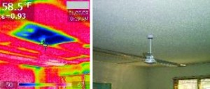 MISSING INSULATION: The picture above does not provide an indication of any issue with the thermal barrier above the ceiling of this elementary school classroom. However, the thermal image on the left clearly shows an area where the insulating factor is greatly reduced. This increases energy costs while causing cold drafts and comfort issues.